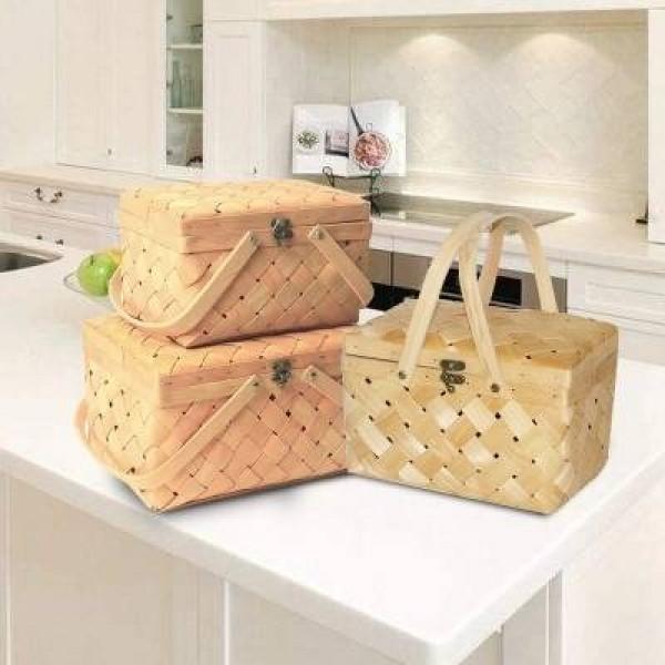 Wood chip woven picnic basket green home basket storage basket portable basket