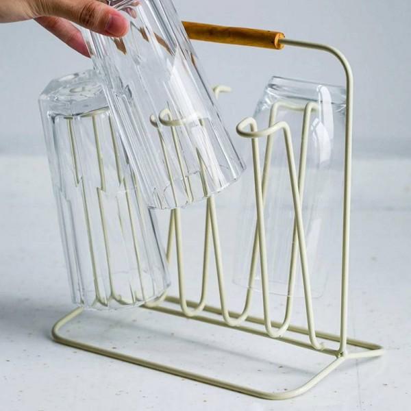 Wood Handle Metal Storage Shelf Double Sided Simple Nordic Bottle Mug Drain Storage Rack Home Decor Organizer for Kitchen