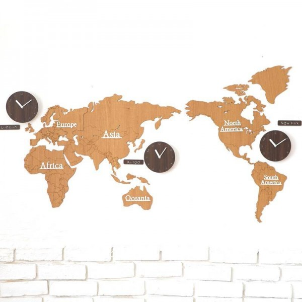 World map wall clock Living room Nordic personality clock Background wall decoration clocks DIY wood Wall clock Wall decoration
