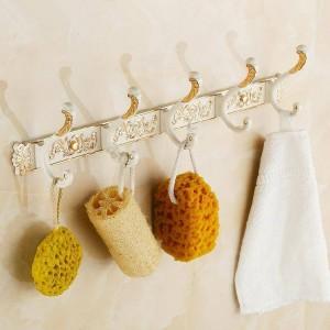 Robe Hooks 4-5 Hook Metal White Plating Towel Hooks Clothes Bath Hanger Luxury Bathroom Accessories Wall Mount Coat Hooks PG-02W