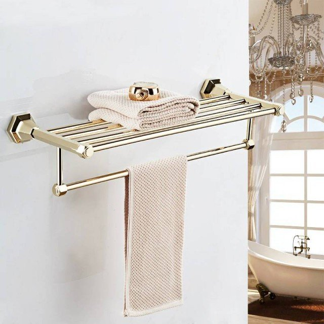 Luxury Art Carved Rotating Towel Rail Bar Wall Mounted Bath Rack Holder Hanger