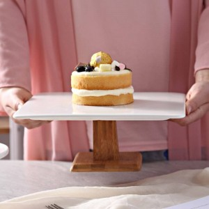 10'' Square Ceramic Cake Stand Decorative Porcelain Wood Compote Serving Tray Tableware for Pudding Chiffon Cake Muffin Tiramisu