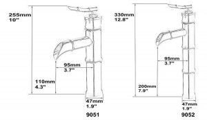 """10"""" Antique Brass Bamboo Faucets crane Bathroom Brass Faucet Sink Basin Mixer Tap 9051A"""