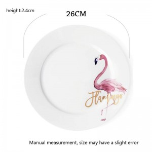 10inch Creative Hand Painted Flamingo Pattern Plate Home Breakfast Spaghetti Omelette Saucer Steak Dish Bone Dinnerware