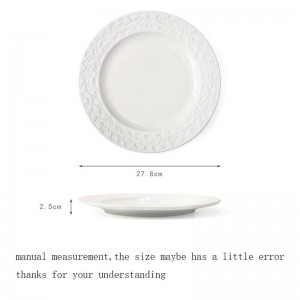 11 Inch European Style Plate Ceramic Embossed Decoration Dish Household Dinnerware Tableware Steak Spaghetti Dish Cake Saucer