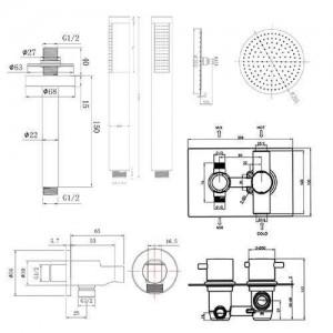 "12"" Ceiling Round Mixer Shower Ultra Thin Thermostatic Shower Head Set Bathroom Chrome Valve Set"