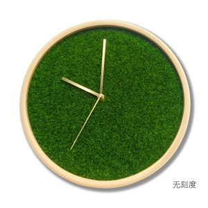 12inch Living room solid wood clock Home Modern Bedroom Clock Mute Simulation turf green plant creative wall clock brass pointer