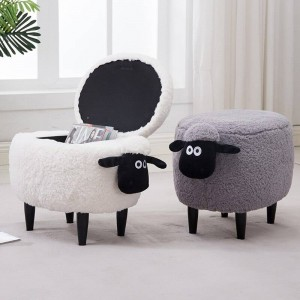 15% Off Sale!Lint Sofa Shoe Stool Pouf Chair Ottoman Bean Bag Kid Toys Storage Footstool Solid Wood Nordic Home Deco Furniture