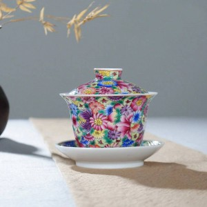 160ml Hand Painted Exquisite Enamel Color Flower Pattern Gaiwan Teapot Lid Saucer Kit Home Drinkware for Wedding Gift