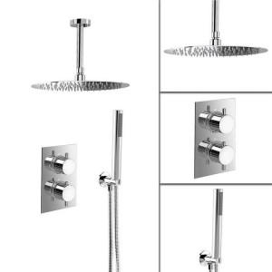 "16"" Ceiling Round Mixer Thermostatic Shower Set Ultra Thin Head Bathroom Chrome Valve Set"