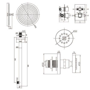 """16"""" Round Mixer Thermostatic Shower Set Ultra Thin Head with Chrome Bathroom Massage Body Jets Thermostatic Faucets"""