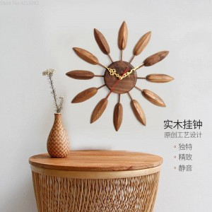 17inch Solid Wood Wall Clock Living Room Wall Clock Modern Design Table Bedroom Creative Home Mute Farmhouse Decor