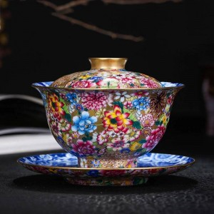 180ml Gaiwan Hand Painted Enamel Noble Tea Bowl Ceramic Porcelain Drinkware Teaware Home Decoration Collection Gifts