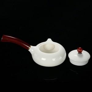 180ml Noble Teapot Ceramic Jade Porcelain Wood Handle Pot Exquisite Coffee Milk Kettle Kung Fu Tea Set Drinkware Decor