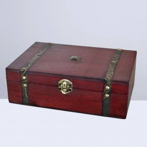 1pc Vintage Jewelry Box Retro Wood Gift Box Wood Treasure Box Wood Jewelry Box without Lock