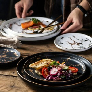 1PCS 6/8/10inch Tableware Luxury Gold Edges Marble Dinner Plate Unique Matte Black And White Dinnerware Kitchen Plate