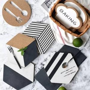 1PCS Original Design Hexagon Series Geometry Cork Pad Pad Modern Nordic Wind Black And White Cork Pad Mats Anti Hot Plate Pad