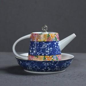 200ML Hand Painted Enamel Color Ceramic Porcelain Home Coffee Kettle Tea Set Teapot Pu'er Tea Cup Lid Saucer