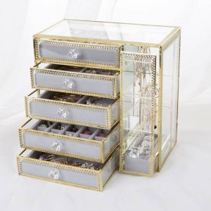 New Drawer Storage Box Gold Jewelry Storage Box Earrings Earrings Necklace Glass Desktop Jewelry Box Gifts