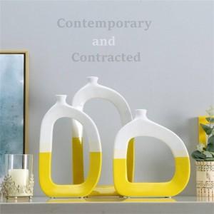 New Europe Ceramic Tabletop Vase Simple ceramic vase abstract creative vase blue yellow art decoration crafts