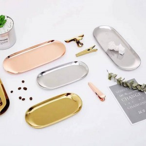 2019 New Nordic Style Oval Metal Butterfly Gold Stainless Steel Dishes Afternoon Tea Dessert Tray Jewelry Storage Plate