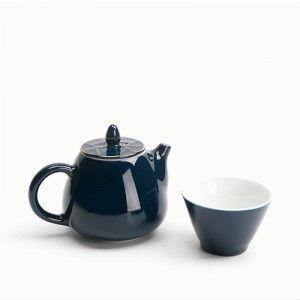 220ML Style Blue Ceramic Porcelain Gold Border Lid Teapot Kung Fu Tea Set Filter Coffee Milk Pot Water Kettle Drinkware