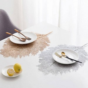 22*15 Inch Creative Dining Table Leaf Placemats Simulation Coral Branch Placemat Washable PP Table Mats Table Decoration