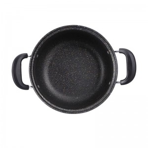 24cm Maifanstone Non-stick Stockpot With Standable Glass Lid Iron Home Cooking Soup Pot Double Handle For Gas Induction Cooker