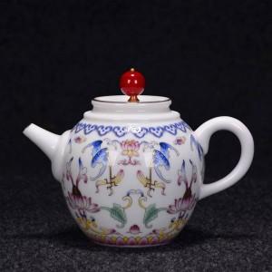 250/270ml Hand Painted Enamel Color Teapot Handmade Ceramic Porcelain Drinkware Tea Ceremony Kettle Sent Friends Gift
