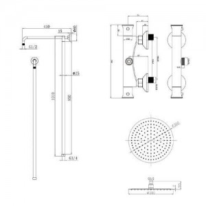 2 Dial 1 Way Bathroom Thermostatic Rain Shower Head Set Round Mixer faucet tap Shower Valve panel
