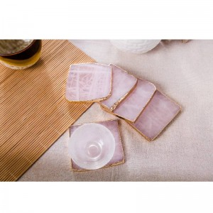2pcs/pack Pink Agate Coaster Coaster Drink Coasters Cup Mat