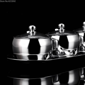 304 Stainless Steel Spice Box Spice Jar Set Household Spice Jar Salt Tank Pepper Cans Kitchen Supplies Seasoning Cartridge Cover
