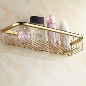 30cm-45cm Wall Mounted Golden Polished Bathroom Accessories Bathroom Shelves , Basket Shelf