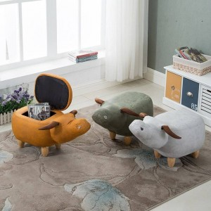35% Off Sale! Nordic Home Shoe Stool Pouf Chair PU Sofa Ottoman Bean Bag Kid Toys Storage Footstool Solid Wood Deco Furniture