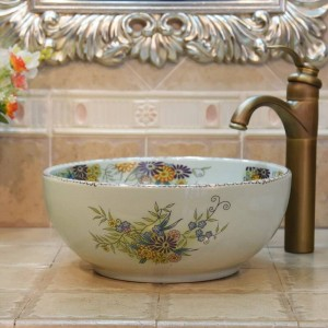 35Cm mini Crack Flower And Bird Handmade Lavabo Washbasin Artistic Bathroom Sink ceramic wash basin small