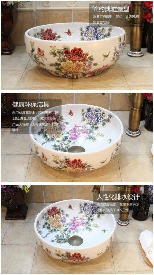 35CM White Peony Flower Basin Handmade Lavabo Washbasin Artistic Bathroom Sink countertop ceramic bowl sinks