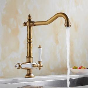 360 Swivel Kitchen Faucet Antique Brass/Chrome Polish Double Handle Bathroom Basin Sink Mixer Tap Faucets