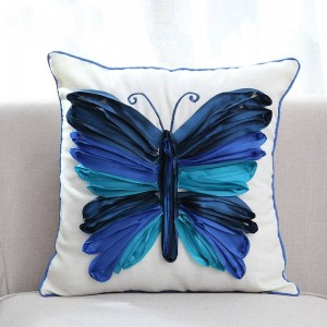3D Butterfly Embroidered Decorative Throw Cushion Cover Luxury High end Pillow Case for Bedding Sofa almofadas decorativas