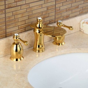 3Pcs Faucet Golden Polished Basin Faucets Deck Mounted Bathroom Tap Sink or Bathtub Faucet 2 handles Faucet BA04