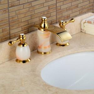 3Pcs Jade&Brass Deck Mounted Bathroom Tap Basin Faucet Sink or Bathtub Faucet Double handles Faucet BA30A