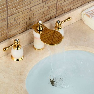 3Pcs Jade&Brass Deck Mounted Bathroom Tap Basin Faucet Sink or Bathtub Faucet Double handles Faucet BA30B