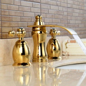 3Pcs Waterfall Faucet Golden Polished Basin Faucets Deck Mounted Bathroom Tap Sink or Bathtub Faucet Double handles Faucet BA08