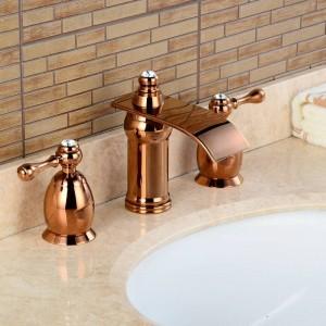 3Pcs Waterfall Faucet Rose Golden Polished Basin Faucets Deck Mounted Bathroom Tap Bathtub Faucet Double handles Faucet BA16