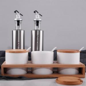 3piece set of hammer-shaped ceramics seasoning jar Condiment box set Spice and pepper shaker Sugar salt chili pot kitchen tools