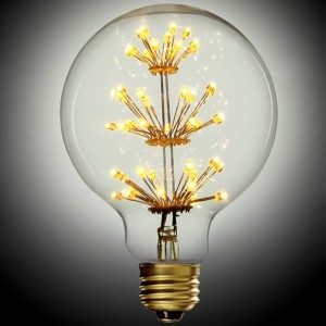 3W LED E26 Single Clear Globe Light Bulb With Flower Filaments in Brass Finish