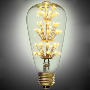 3W LED E26 Single-Light Reminiscent Clear Glass Light Bulb With Flower Filaments
