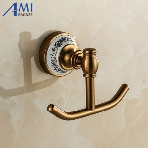 410AAP Series Antique Brush Hook Aluminum & Porcelain Base Clothes Hook Bathroom Hardwares Accessories Robe Hooks