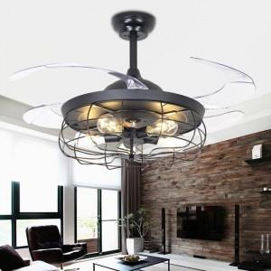 42Inches retro ceiling fan light restaurant invisible fan light Nordic loft pendant living room lamps Remote fan chandelier