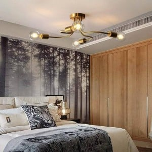 4/6 Heads American Country Copper Lampada LED Ceiling Lights for Living Room Bedroom Modern Simple Indoor Home Deco Ceiling Lamp