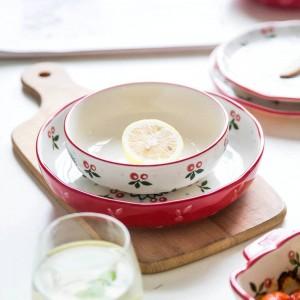 4 Person Dinner Set Japanese Cherry Designed 10 Heads Ceramic Tableware Plate Set